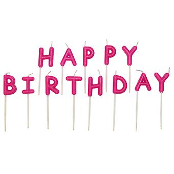 Happy Birthday Cake Candle-Pink