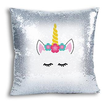 i-Tronixs - Unicorn Printed Design Silver Sequin Cushion / Pillow Cover with Inserted Pillow for Home Decor - 0