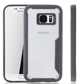 Premium Samsung Galaxy S7 hybrid edition täcka grå | Stöd för trådlös laddning | fina akryl med mjuk silikon kant grå