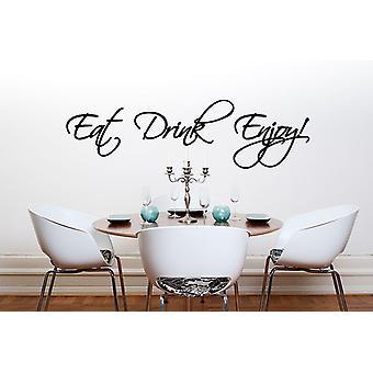 أكل شرب الاستمتاع باقتباس ملصقا جدار غرفة الطعام المطبخ