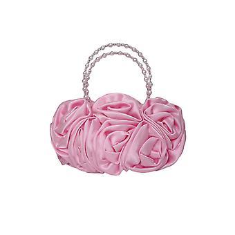 Rosa Satin rufsar Rose blomma flickor handväska