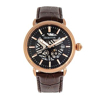 Heritor Automatic Mattias Leather-Band Watch w/Date - Rose Gold/Black