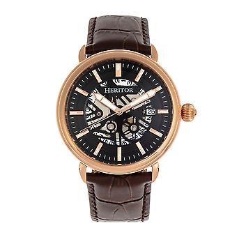 Heritor s automática Mattias-venda de cuero reloj w/fecha - rosa oro/negro