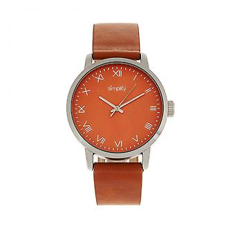 Simplify The 4200 Leather-Band Watch - Orange