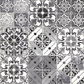Black Silver Valencia Tile Wallpaper Moroccan Mediterranean Geometric Debona