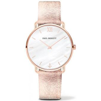 Shows Paul Hewitt PH - M - R - P - 29 S - shows steel Milanese Dor Rose dial white woman