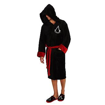 Assassin es Creed Adult Logo Black Dressing Gown-ONE SIZE