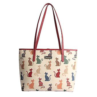 Cheeky cat shoulder tote bag by signare tapestry / coll-cheky