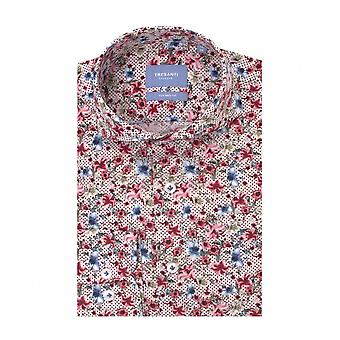 Tresanti Flower Print White Men's Cotton Long Sleeve Shirt