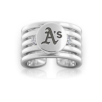 Oakland Athletics Engraved Sterling Silver Diamond Multiband Cuff Ring