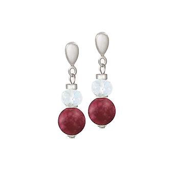 Eternal Collection Rhapsody Cranberry Jade And Crystal Drop Clip On Earrings