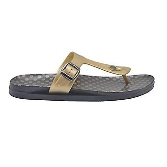 Gold Toe Ladies Sandal Metallic Pcu Slide With Polka Dot Print Footbed Slip On Thong Flip Flop