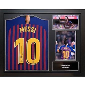 Barcelona Messi signert skjorte (ramme)