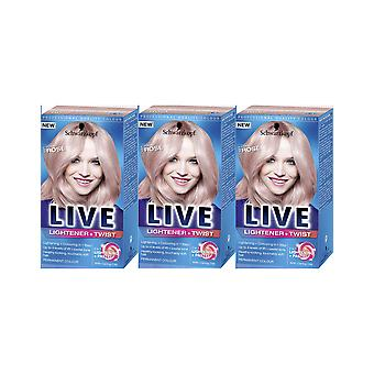 Schwarzkopf Live Lightener & Twist 101 Cool Rose Hair Colour Dye 3 For 2 Pack