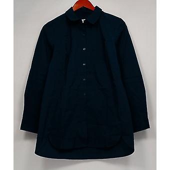 Denim & Co. Frauen's Top XXS Stretch Poplin großes Hemd blau A267912
