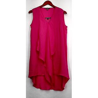 Kate et Mallory Top Mixed Media Sleeveless Tank Pink Womens A434363