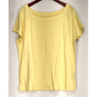 Basic Editions XXL Boat Neck Short Sleeve Yellow Top Womens