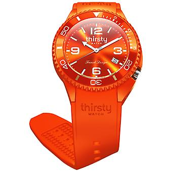 Thirsty tangerine infused unisex watch for Unisex Analog Japanese Quartz with Silicone Bracelet BO-TANGERINE