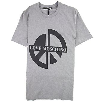 Love Moschino Printed Peace Sign T-Shirt Grey B733