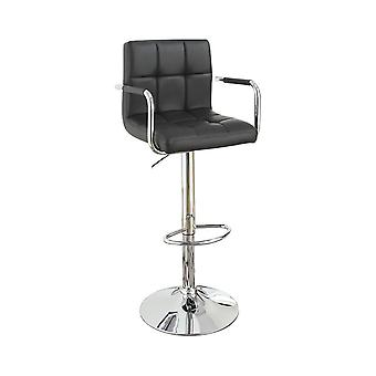Chair style barstool with faux leather seat and gas lift black and silver set of 2