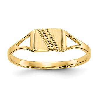 14k Yellow Gold Solid Closed back for boys or girls Polished and Satin Ring Size 3 - .8 Grams
