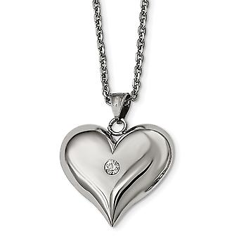 Stainless Steel Polished With Crystal Love Heart Necklace 22 Inch Jewelry Gifts for Women