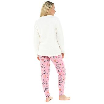Senhoras urso polar design coral Fleece Top Twosie pijama conjunto pijamas