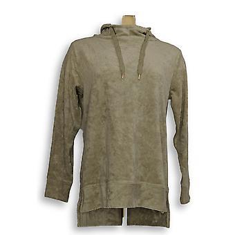 Anybody Women's Sweater XXS Baby Terry Hooded Sweatshirt Green A310048