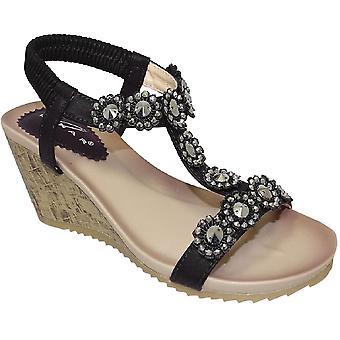 JLH780 EK Dames bloem Floral T-Strap comfortabel elastisch wig sandalen