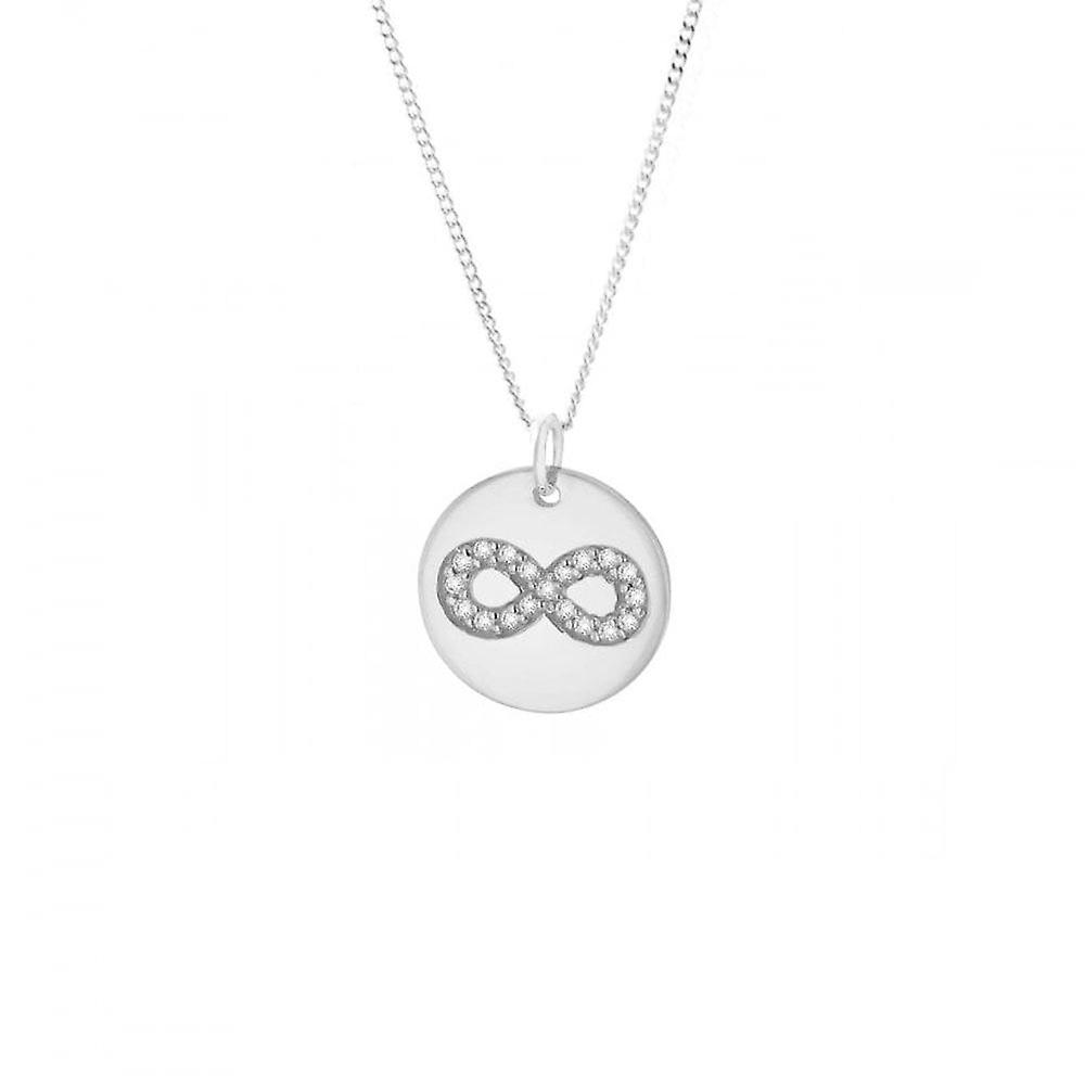 Eternity Sterling Silver Cubic Zirconia Infinity Disc Pendant And 18'' Chain