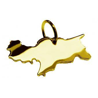 Hänge karta kedja hänge i guldgult-guld i form av SYDTYROLEN