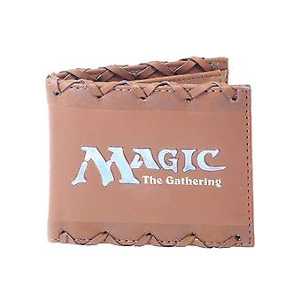 Magic the Gathering Wallet Stitched Faux Leather Logo new Official Brown Bifold