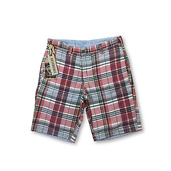 Tailor Vintage reversible shorts in blue/pink madras
