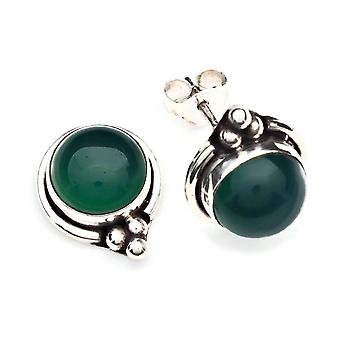 Green Onyx Stud saearrings 925 Argento Sterling Orecchini d'argento verde (MOS 65-14)