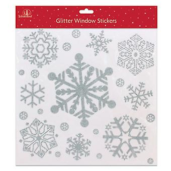 Festive Wonderland Glitter Christmas Snowflake Window Sticker Decorations