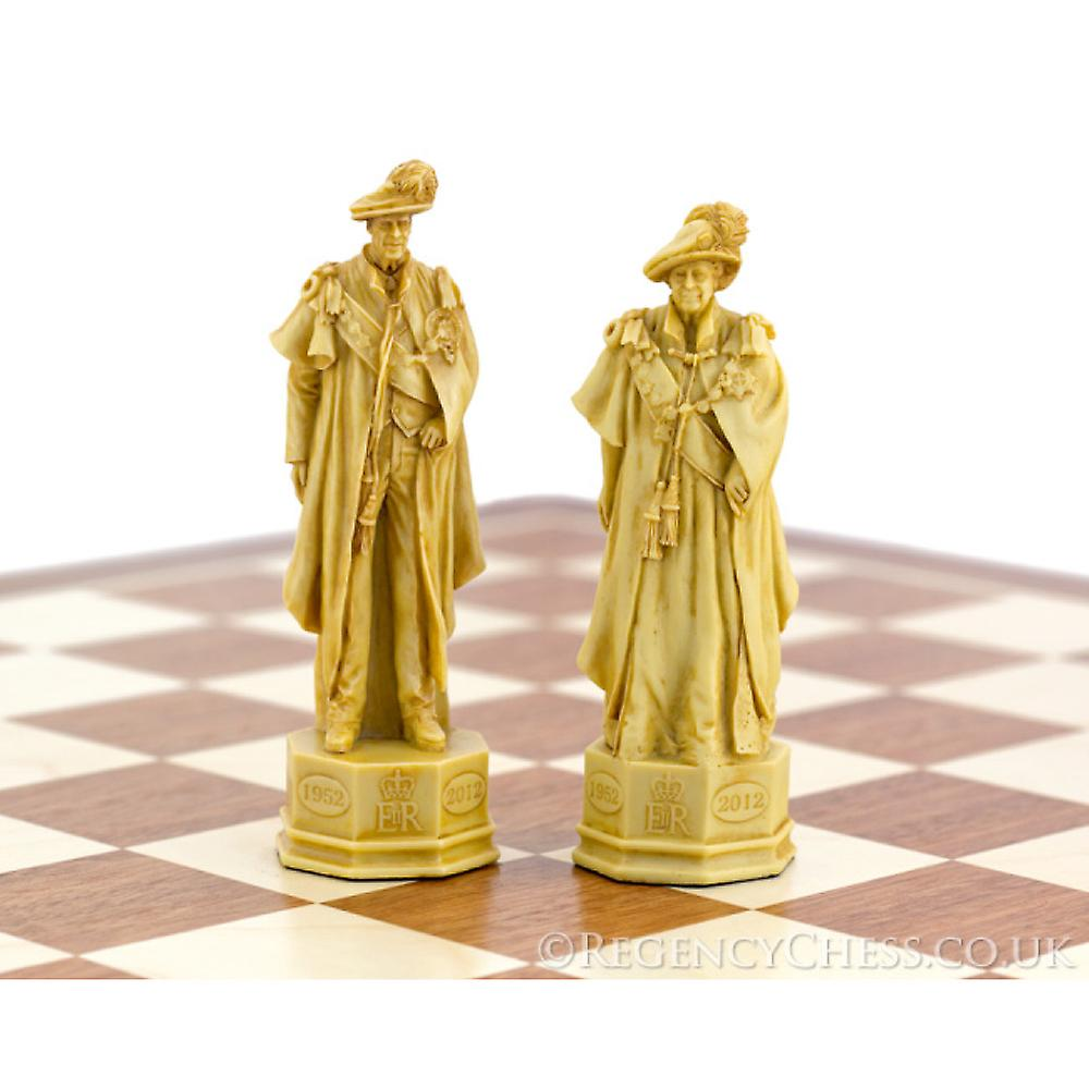 Official H.M. The Queen's Diamond Jubilee Chess Set Mahogany
