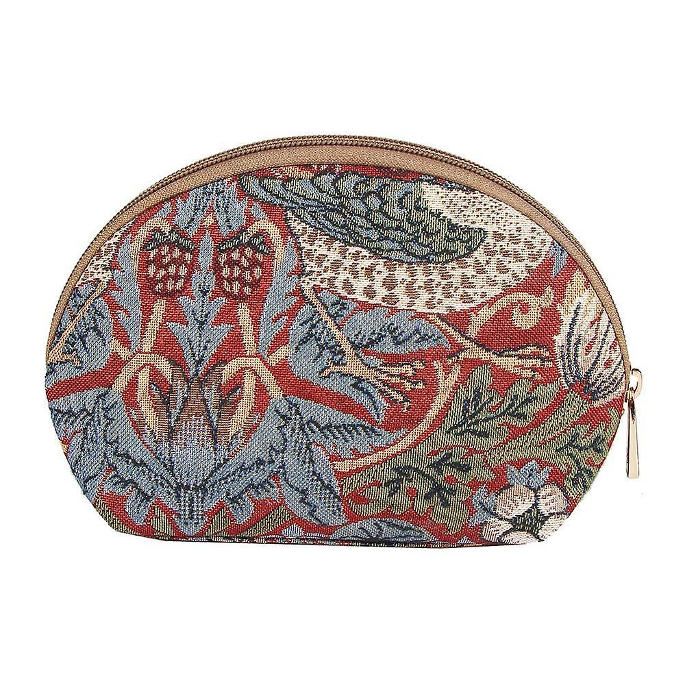 William morris - strawberry thief red cosmetic bag by signare tapestry / cosm-strd