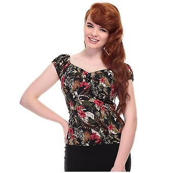 Collectif Vintage Women's Dolores Doll Lanai Hibiscus Floral Print Top