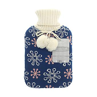 Country Club Knitted Hot Water Bottle, Blue Snowflake