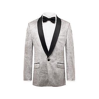 Dobell Herre sølv Tuxedo Jakke regelmæssig pasform knust fløjl