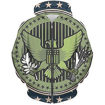Sudadera con capucha de sello de águila unisex con cremallera
