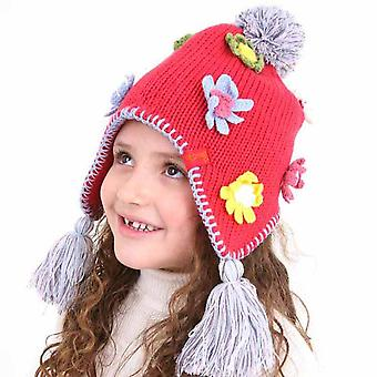 Kids Girls Knitted Peru Style Warm Winter Hat With Flower Detail 3-5 Years Pink