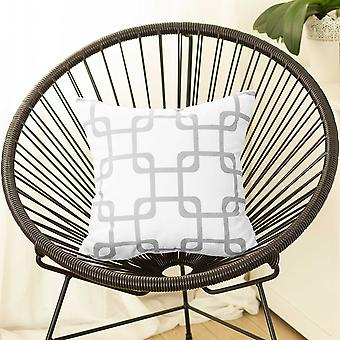 Gray and White Geometric Squares Decorative Throw Pillow Cover