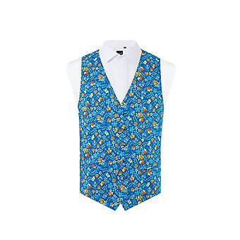 Liberty Mens 'Edenham' Royal Blue Floral Waistcoat Regular Fit 100% Cotton