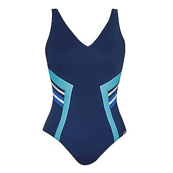 Sunflair 22316-26 Women's Modern Cubes Blue Soft Cup High Back Shaping Swimsuit