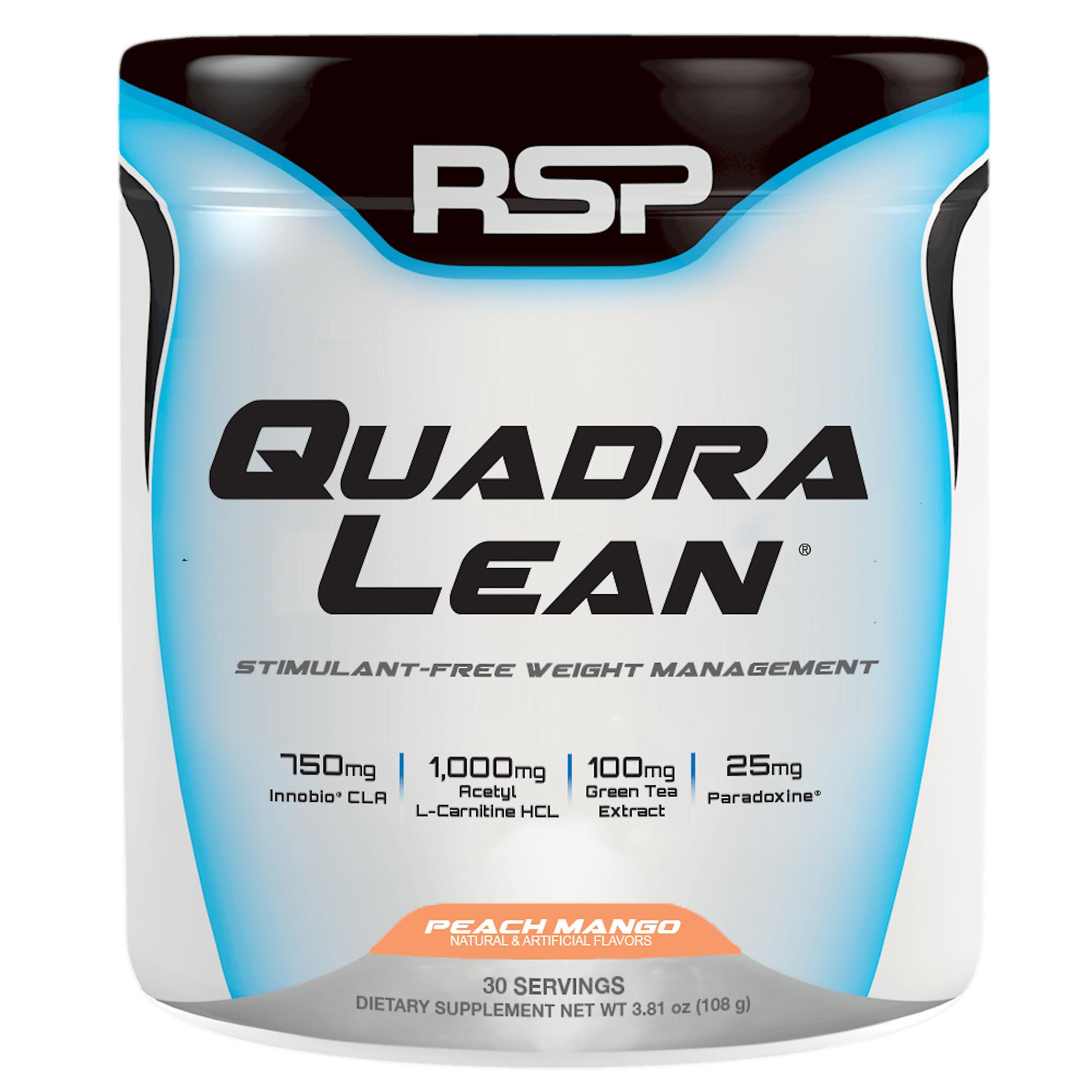 Rsp quadralean powder, fat burner, metabolism booster, stimulant free (peach mango, 30 servings)