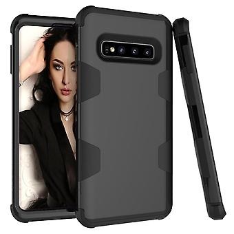 Samsung Galaxy S10 Plus -kotelo, musta haarniska TPU & PC Grip Takakansi