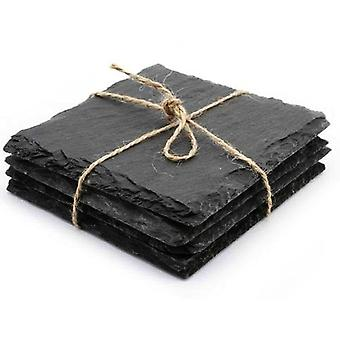 Set of 8 Slate Coasters 10x10cm - Table Coaster Serving Plates 4 Rubber Feet to Protect Your Surfaces - Robust Design