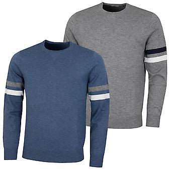 Wolsey Mens Stripe Lightweight Merino Wool Crew Neck Golf Sweater
