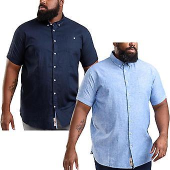 Duke D555 hombres Brixton grande alto tamaño tamaño manga corta botón arriba camisa superior
